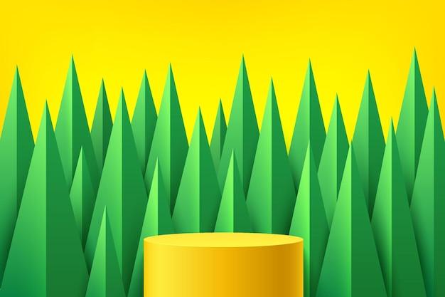 노란색 배경에 녹색 삼각형 모양이 겹치는 추상 3d 노란색 플랫폼 연단