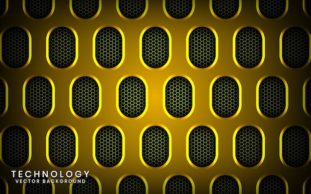 Abstract 3d yellow technology background with shiny effect, overlap layers on dark space with metallic oval