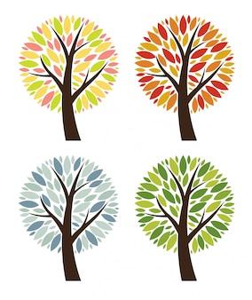 Абстрактный 4 сезона вектор дерево коллекция набор иллюстраций