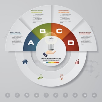 Abstract 4 steps chart infographics elements.