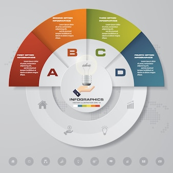 Abstract 4 steps modern chart infographics elements.