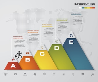 Abstract 5 steps timeline infographic element.