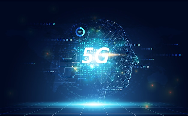 Abstract 5g network technology ai digital