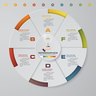 Abstract 6 steps pie chart.