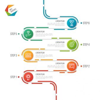 抽象的な6つのステップの道路タイムラインインフォグラフィックテンプレート。