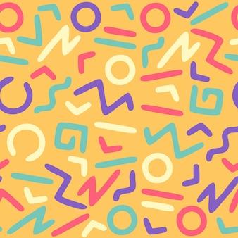 추상 80년대 손으로 그린 원활한 패턴, 다채로운 원활한 패턴, 손으로 그린 패턴