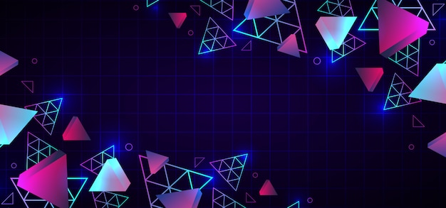 Abstract 80s trendy geometric background neon colors