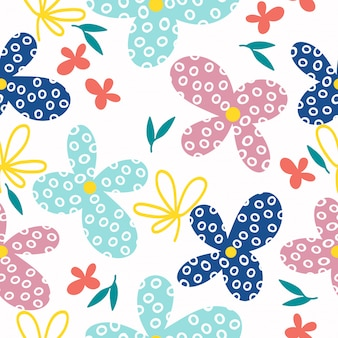 Abstract abstract hand drawn  flowers seamless pattern  background