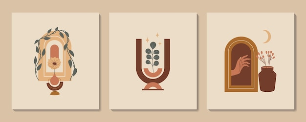 Abstract aesthetic illustration and bohemian poster with hand vases arch and tropic plants