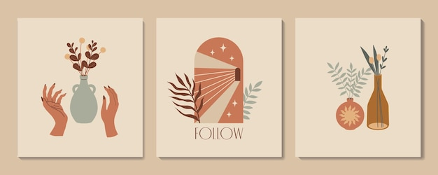 Abstract aesthetic illustration and bohemian poster with hands vases arch and tropic plants