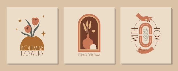 Abstract aesthetic illustration and bohemian poster with hands vases terracotta and plants