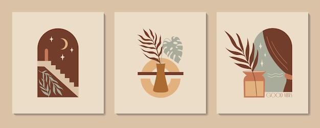 Abstract aesthetic illustration and bohemian poster with stairs vases arch and tropic plants