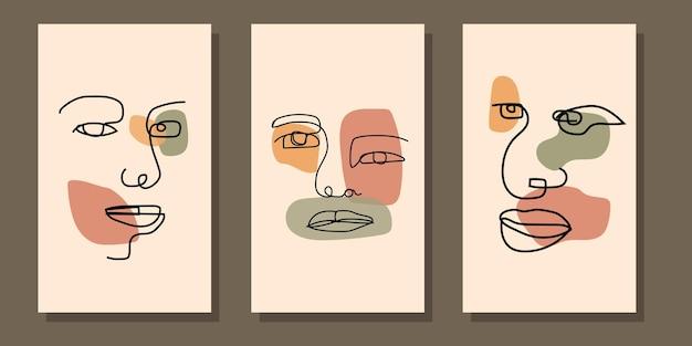 抽象的な美的ミッドセンチュリーモダンラインアート顔自由奔放に生きるポスター