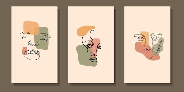 Абстрактная эстетическая середина века, современная линия искусства, лицо, бохо, постер