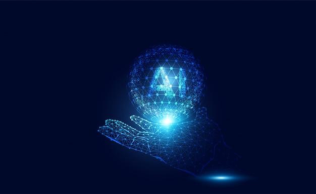 人工知能のワイヤーフレーム作業データを手にした抽象的なaiコンピューティング