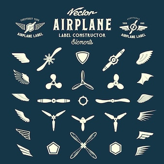 Abstract   airplane labels or logos construction elements.