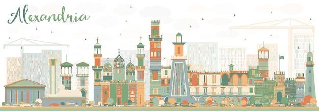 色の建物と抽象的なアレクサンドリアのスカイライン。ベクトルイラスト。歴史的な建築とビジネス旅行と観光の概念。プレゼンテーションバナープラカードとwebサイトの画像