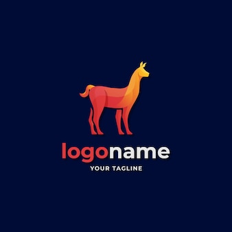 Abstract alpaca llama logo gradient style for southern farm countryside