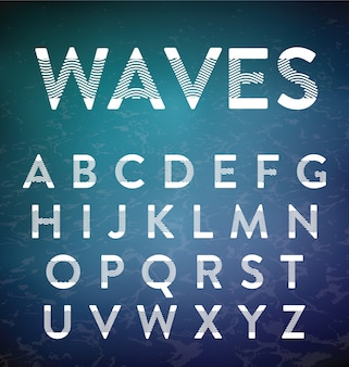 Abstract alphabet design with wavy shapes