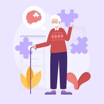 Абстрактная иллюстрация концепции болезни альцгеймера