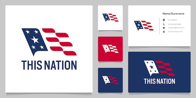 Дизайн логотипа национального флага абстрактный американский с визитной карточкой