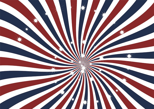 Abstract american flag swirl strips with sparkling stars
