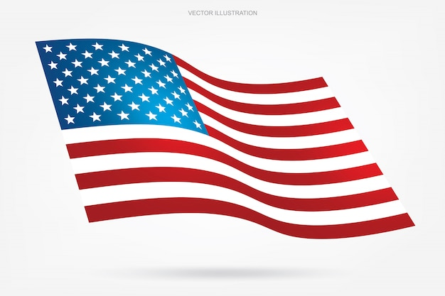Abstract american flag on white background.
