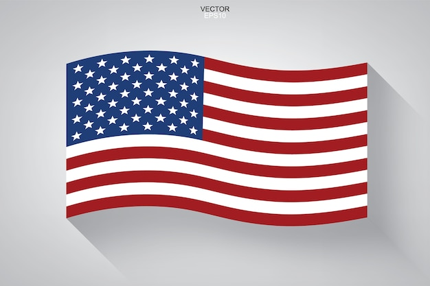 Abstract american flag with long shadow effect on white background.