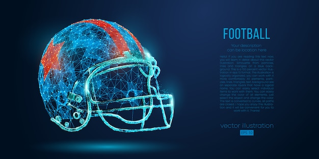 Abstract american football helmet from particles, lines and triangles. rugby.