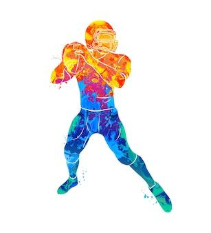水彩画のスプラッシュから抽象的なアメリカンフットボール選手。