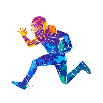Abstract american football player from splash of watercolors.