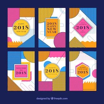 抽象的でカラフルな新年の2018カード
