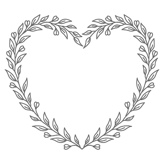 발렌타인 데이 대 한 추상적이 고 장식적인 꽃 벡터 심장 그림