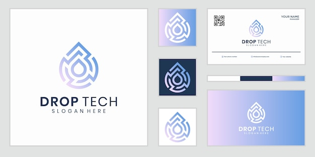 Абстрактный и цифровой технический символ знака логотипа капли воды. дизайн логотипов и визиток