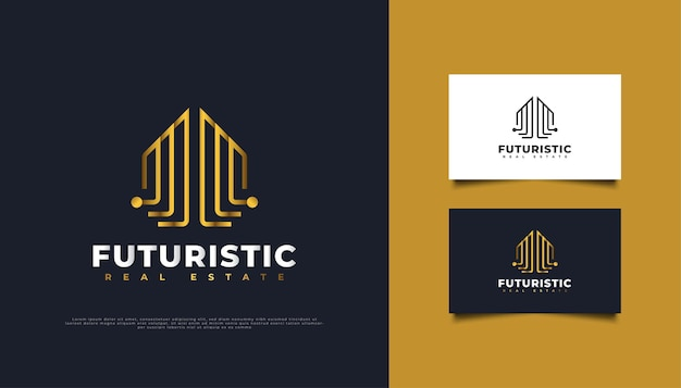 ゴールドラインスタイルの抽象的で未来的な不動産ロゴデザイン。建設、建築または建物のロゴデザインテンプレート