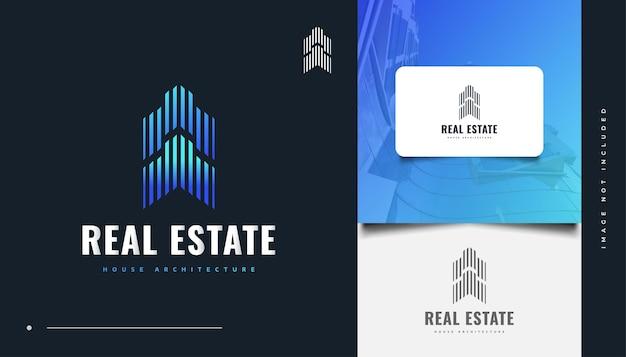 Абстрактный и футуристический дизайн логотипа недвижимости в стиле синей линии