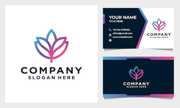 Абстрактный и минималистичный цветочный логотип, дизайн логотипа естественной красоты с шаблоном визитной карточки