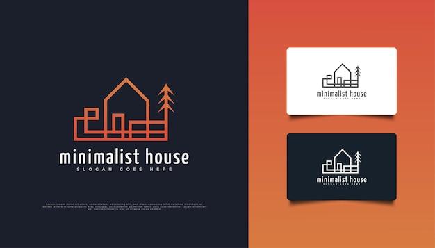 ラインスタイルの抽象的でミニマリストの不動産ロゴデザイン。建設、建築または建物のロゴデザインテンプレート