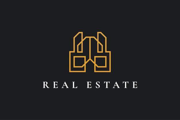 Абстрактный и минималистский дизайн логотипа недвижимости со стилем линии. строительство, архитектура или дизайн логотипа здания