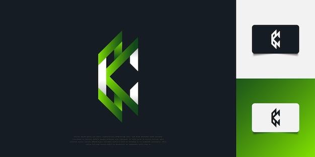 Абстрактный и современный дизайн логотипа буква k и c в белом и зеленом градиенте. шаблон дизайна логотипа вензеля kc. графический символ алфавита для фирменного стиля