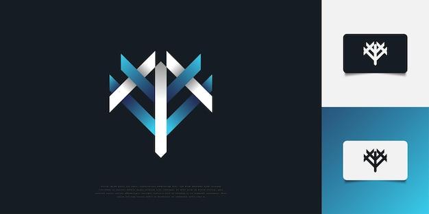 Абстрактный и современный дизайн логотипа буква m и v в сине-белом градиенте. шаблон дизайна логотипа вензеля mv или vm. графический символ алфавита для фирменного стиля
