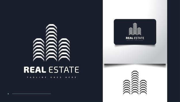추상적이고 현대적인 부동산 로고 디자인 템플릿입니다. 건설, 건축 또는 건물 로고 디자인 템플릿