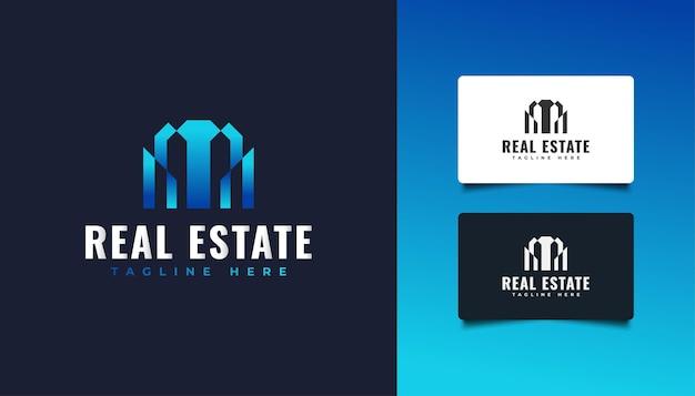 青いグラデーションで抽象的でモダンな不動産のロゴ。建設、建築、建物、または家のロゴ