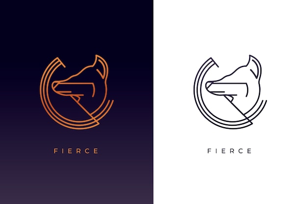 Abstract animal logo in two versions