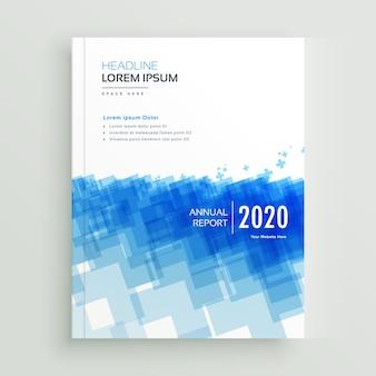 抽象的な青幾何学的な形状と抽象的な年次報告書会社brcohureデザイン