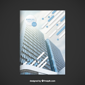 Abstract annual report cover with building