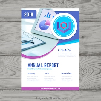 Abstract annual report cover with image