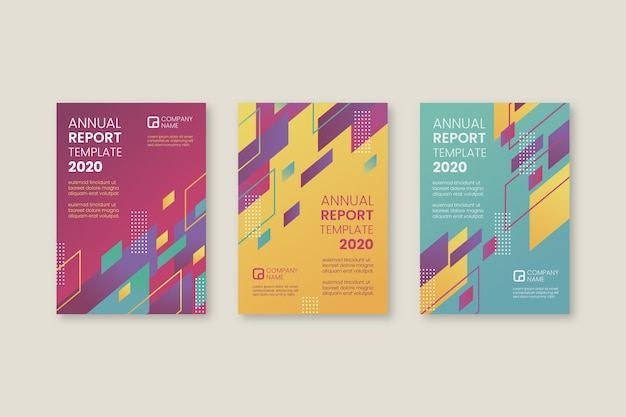 Abstract annual report template collection