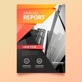 Abstract annual report template design with photo