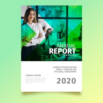 Abstract annual report template theme with photo